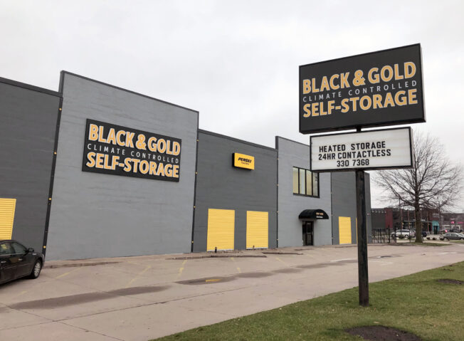 Front of Black and Gold Climate Controlled Self Storage Building in Iowa City IA